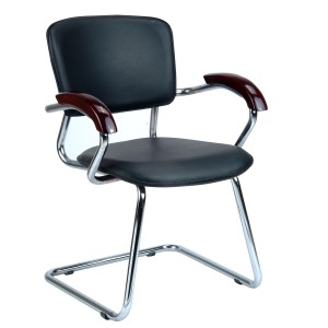 Visitor Chair Fixed in SS Finish Frame with wood arms - Aero Fix Crome
