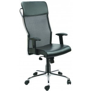 High Back Net - Mesh Chair with PU Head Rest Crome finsh