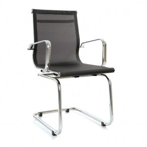 Visitor Chair Fixed in Net/Mesh with arms Crome Finish frame Fab