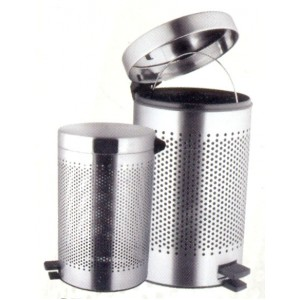 Stainless Steel Perforated Pedestal Dust Bin.